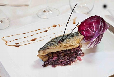 Fried mackerel fillet with white wine simmered radicchio